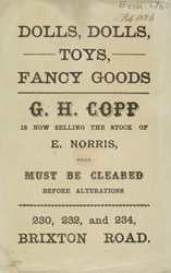 Advert For G. H. Copp, Toy Seller
